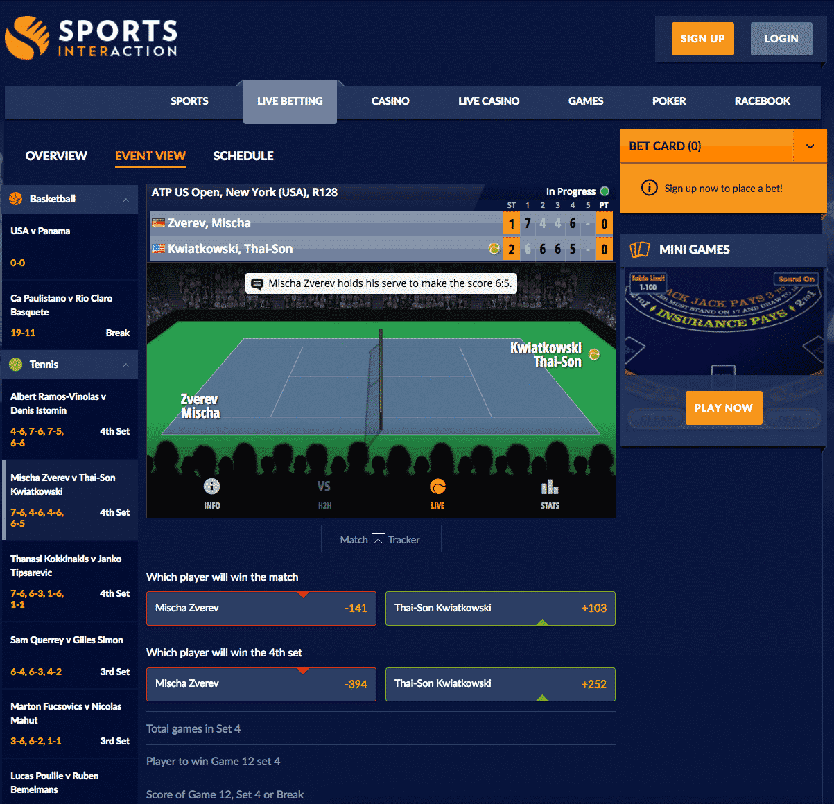 Sports Interaction live betting 3