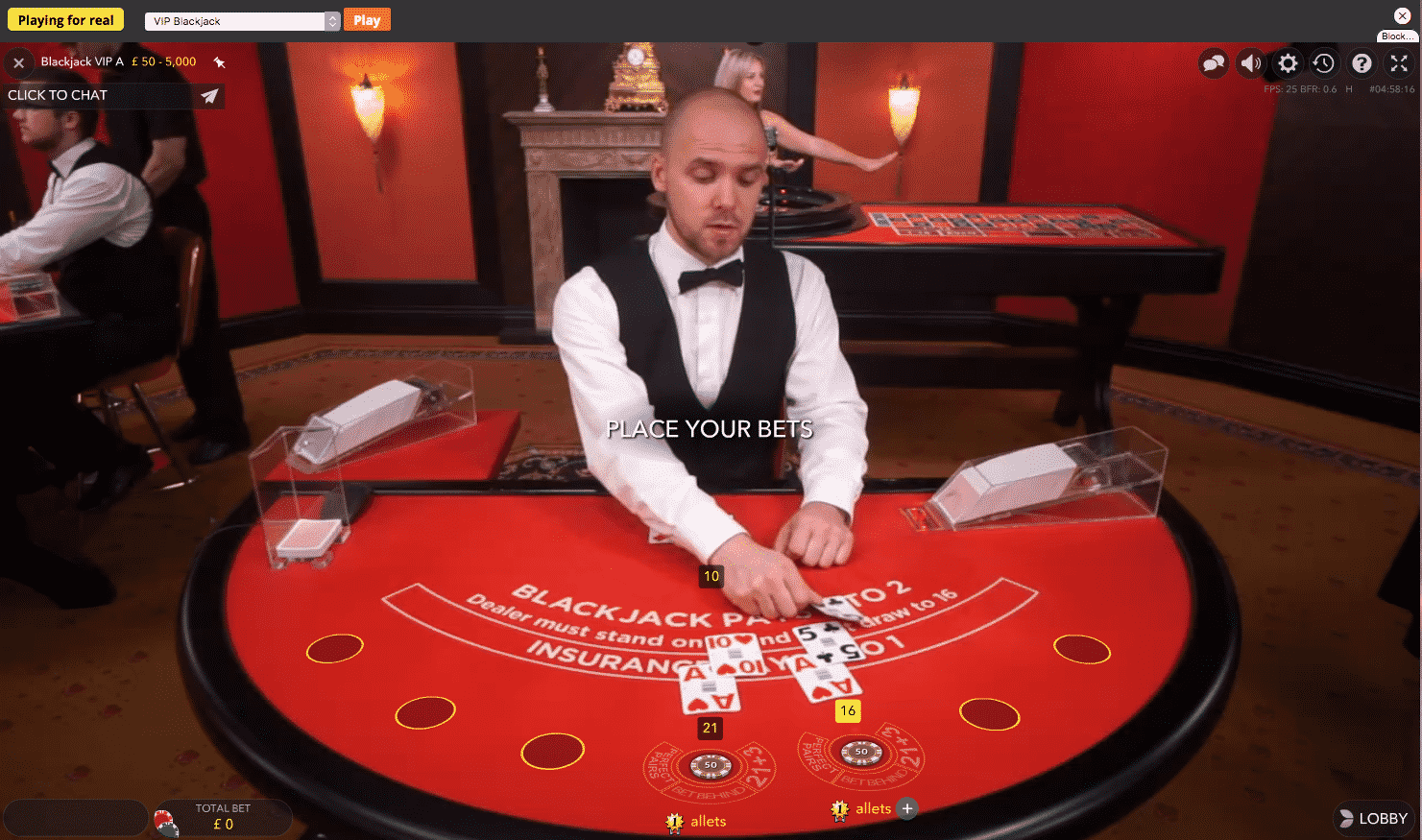 Sports Interaction live dealer blackjack