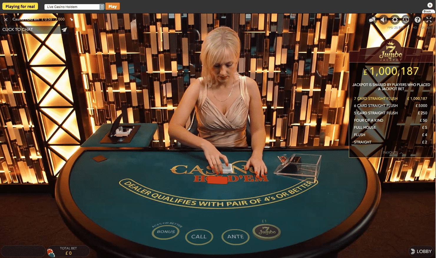 Sports Interaction live dealer casino holdem