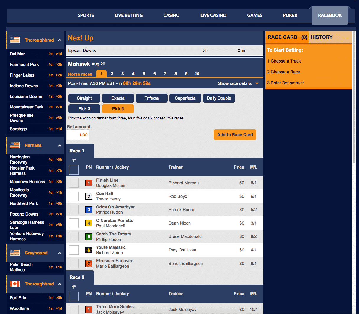Sports Interaction racebook 3