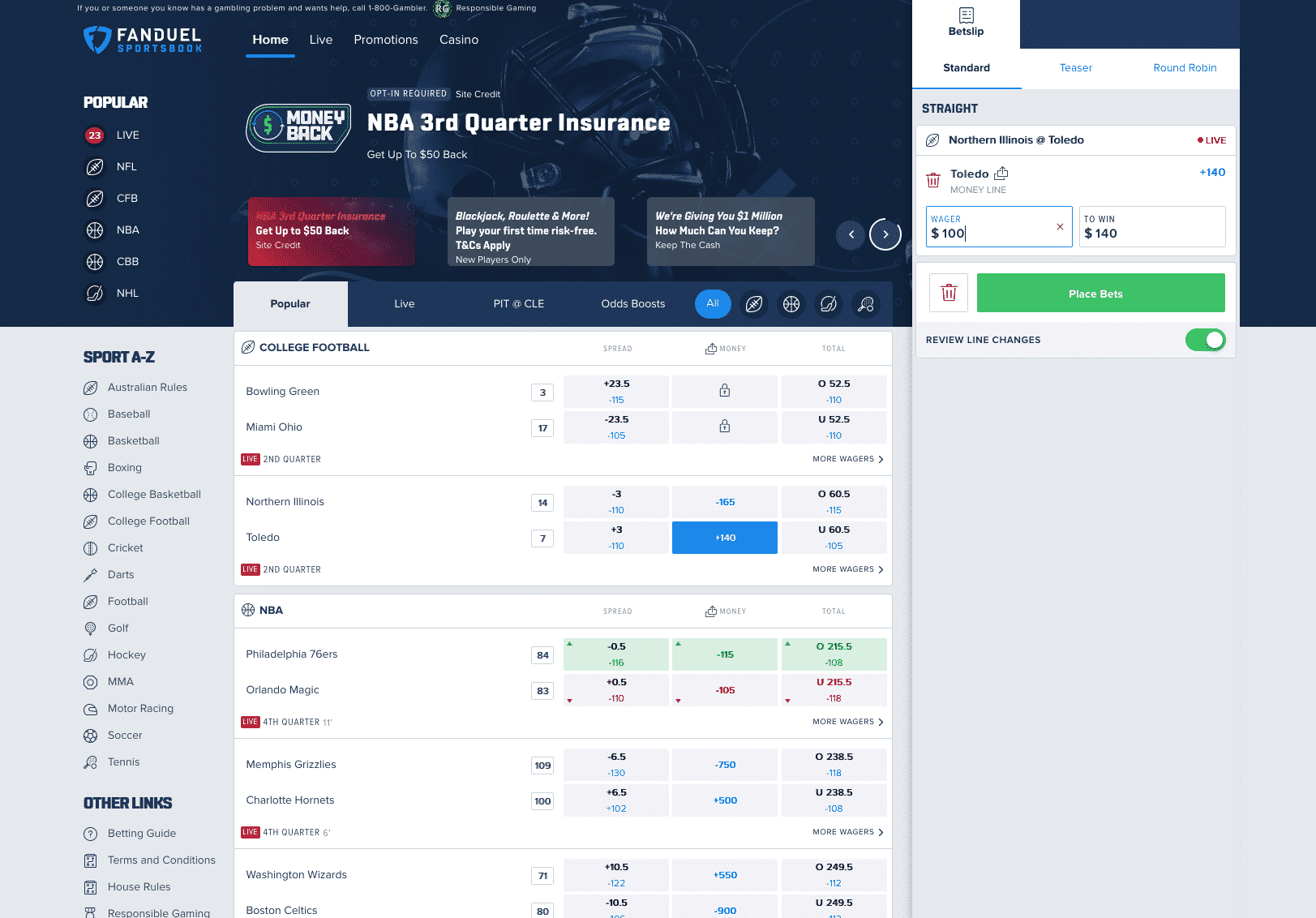 FanDuel Sportsbook screenshot